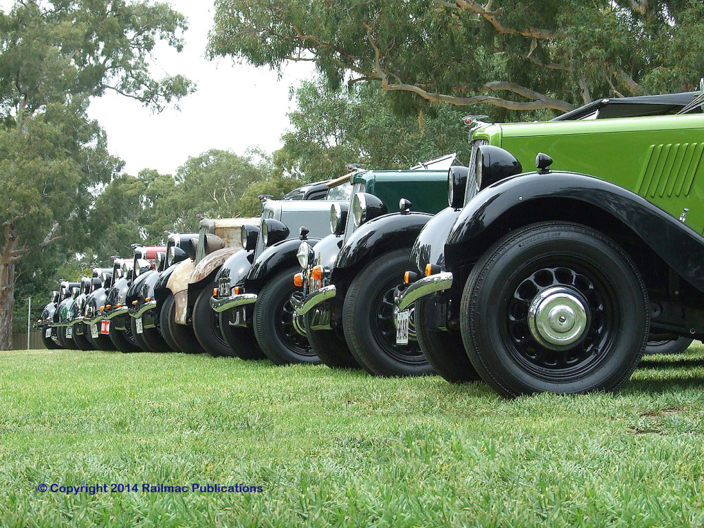 (SM 10-3-1688) Morris 8/40s lined up at the Birdwood Mill, March 2010
