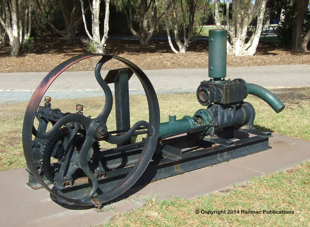 (SM 12-4-6237) PW Richards Force Pump, restored in 1994 and on display in Thorndon Park, Paradise (SA)