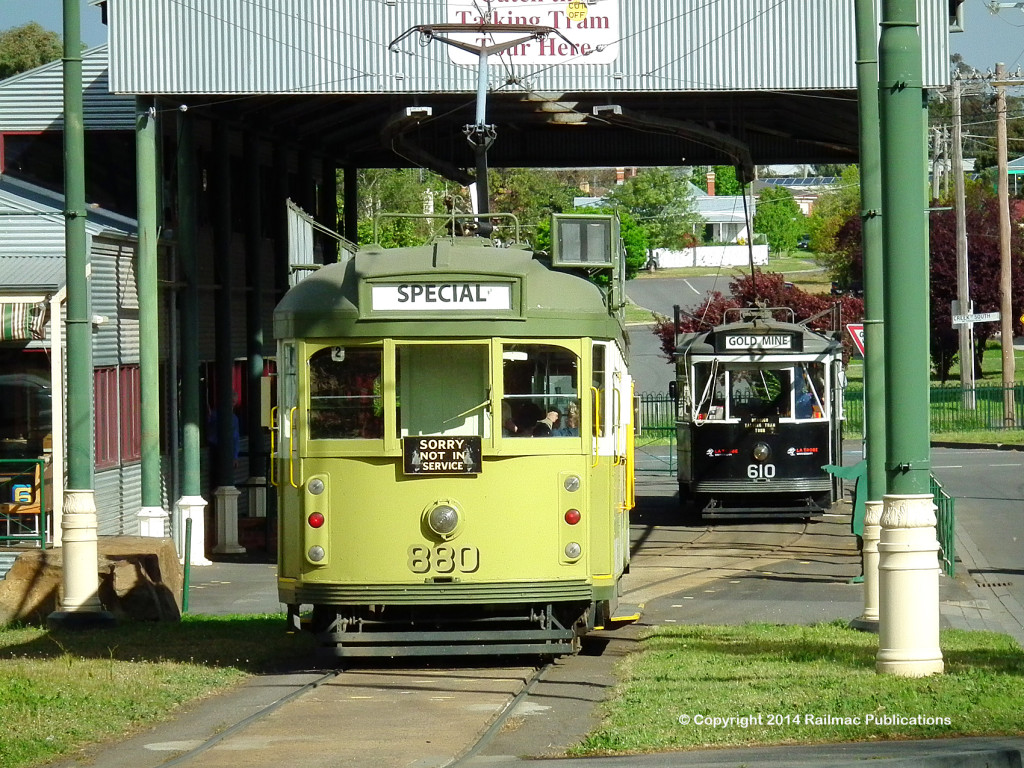 (SM 13-10-4840) Bendigo Tourist Trams 880 and 610 at Central Deborah Mine Terminus, October 2013
