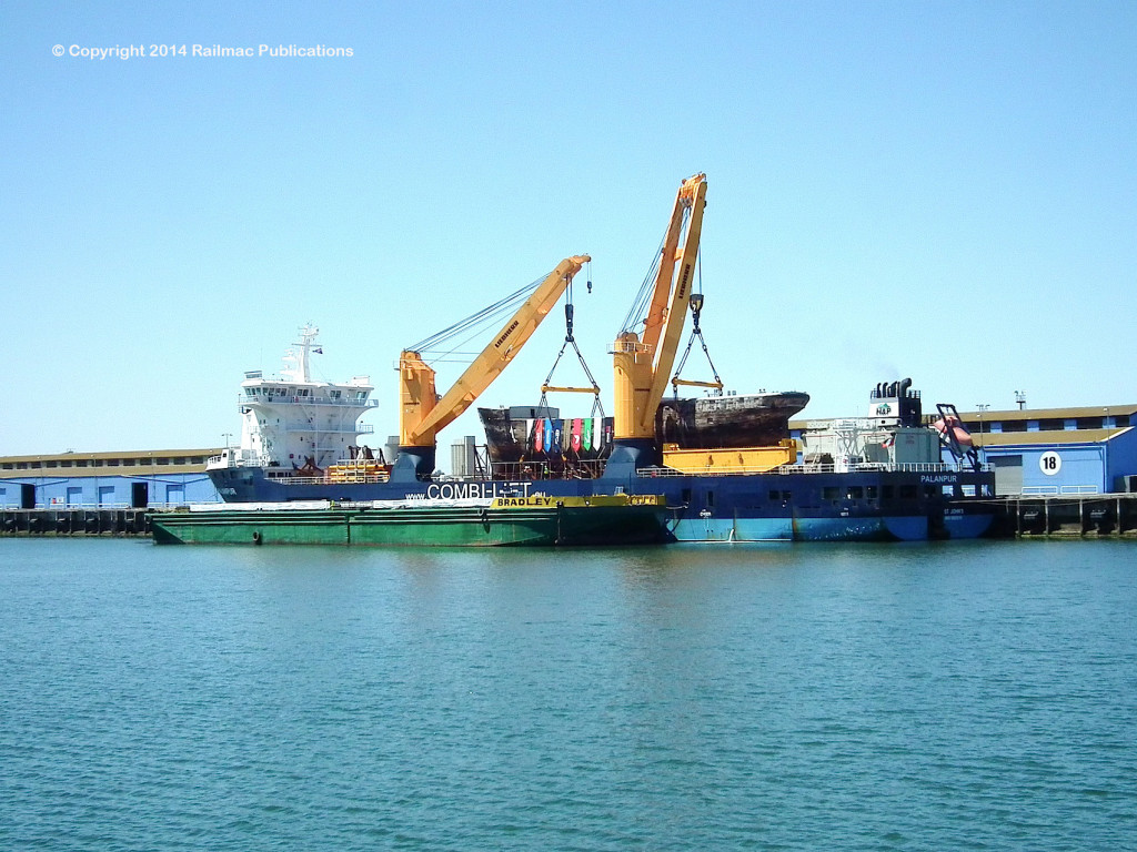 (SM 14-2-7476) The Clipper Ship 'City of Adelaide' on the deck of the MV Palanpur, Port Adelaide, 3rd February 2014