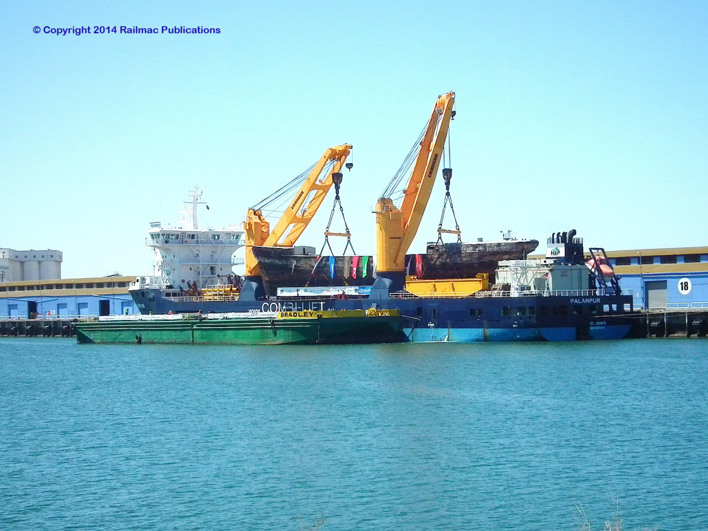 (SM 14-2-7803) Unloading the Clipper Ship 'City of Adelaide' from the MV Palanpur, Port Adelaide, 6th February 2014