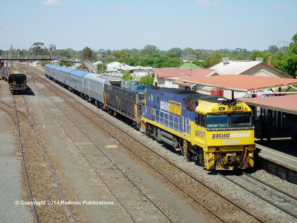 (SM 14-3-8739) NR107 at Dimboola with the Adelaide bound Overland, 8th March 2014