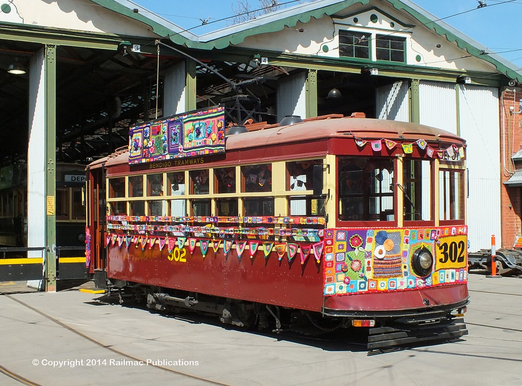 (SM 14-9-6542) Yarnbombing on Burnie tram No. 302 at Bendigo (Vic), September 2014