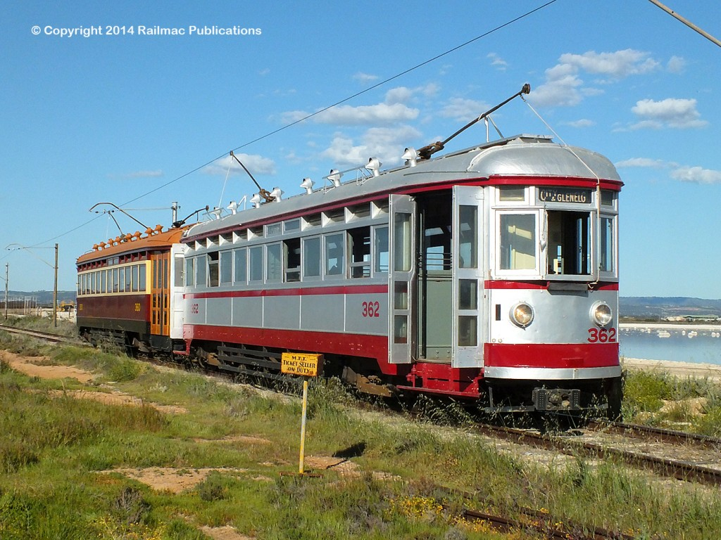 (SM 14-9-7169) H type trams 360 and 362 at the St Kilda Tramway Museum (SA), September 2014