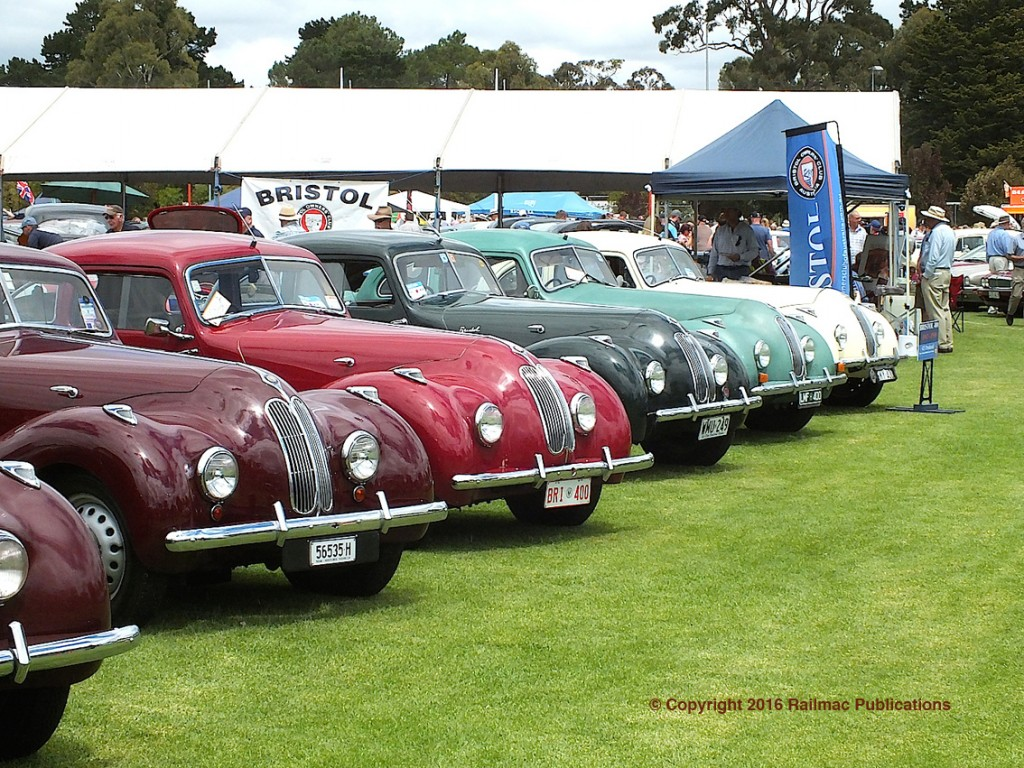 (SM 16-2-5601) A row of Bristol cars on display at the South Australian All British Day in February 2016.