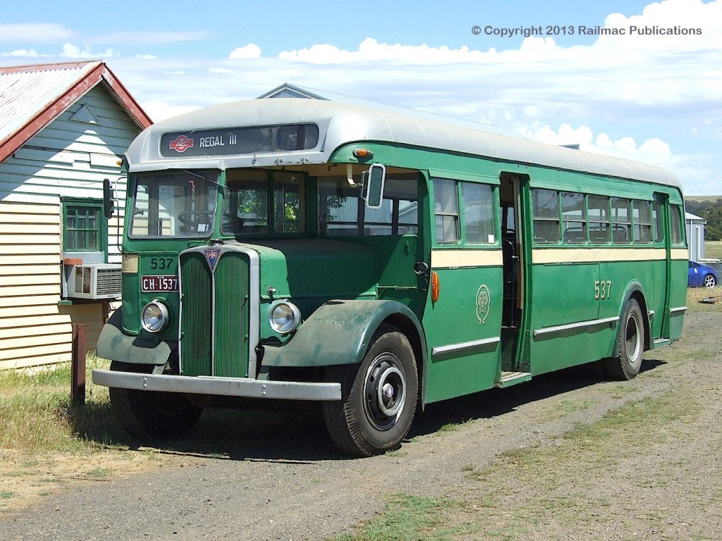 (SM 7-11-4165) AEC Regal half cab, ex M&MTB No. 537, at Bylands Tramway Museum, November 2007