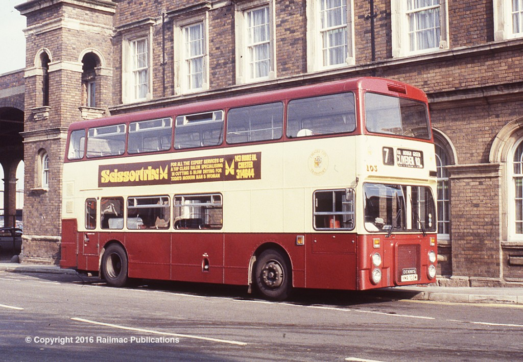 (SM 83-3143) Chester City Transport fleet number 103 at Chester, 23rd September 1983. A Dennis Dominator with Northern Counties bodywork it was placed in service in March 1981.