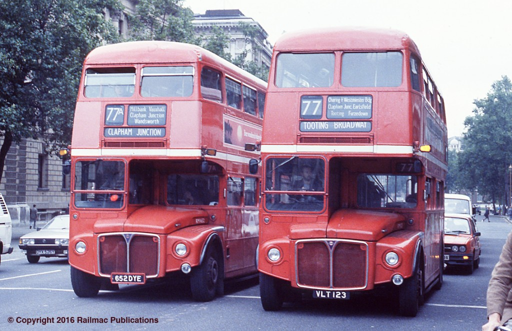 (SM 83-3156) Two routemasters (RM1562 & RML123) still at work in London in October 1983.