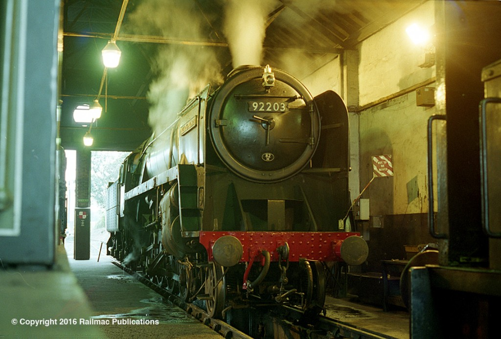 (SM 97-8784) 92203 raising steam inside the loco shed at Cranmore on the East Somerset Railway in October 1997.