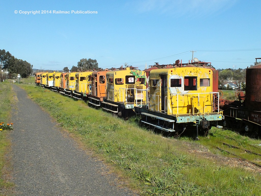 (SM 14-9-6538) A row of ten rail tractors in storage at Bendigo North (Vic), September 2014