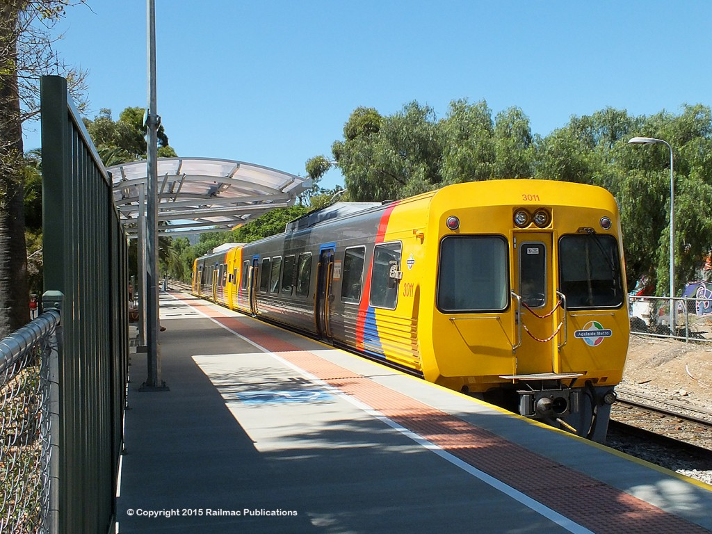 (SM 15-2-4504) 3000 class railcar at the newly reopened Millswood station (SA), 17th February 2015