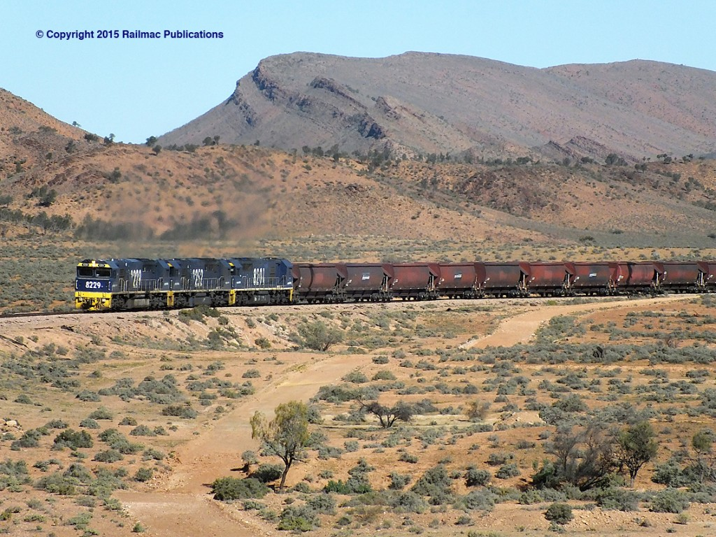 (SM 15-6-0653) 8229, 8252 and 8201 hauling an empty coal train to Leigh Creek (SA), 27th June 2015