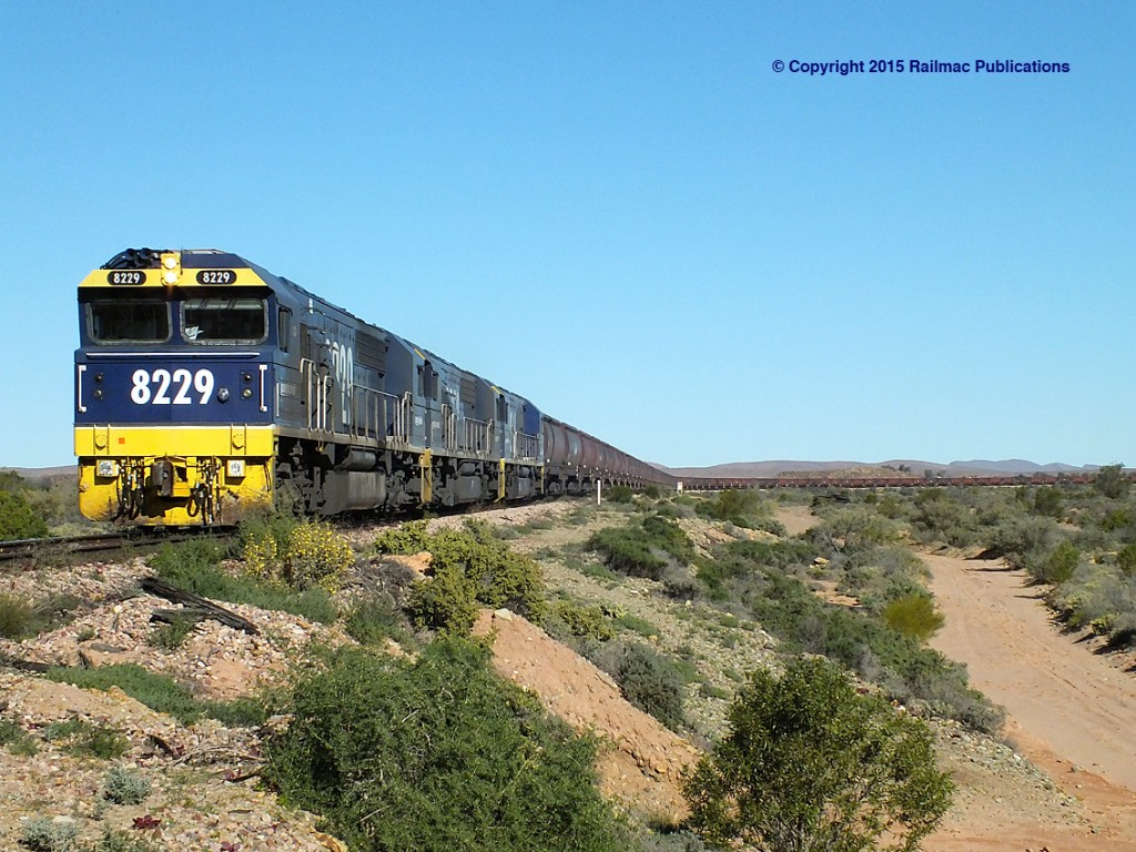 (SM 15-6-0668) 8229, 8252 and 8201 with an empty coal train approaching Copley (SA), 27th June 2015