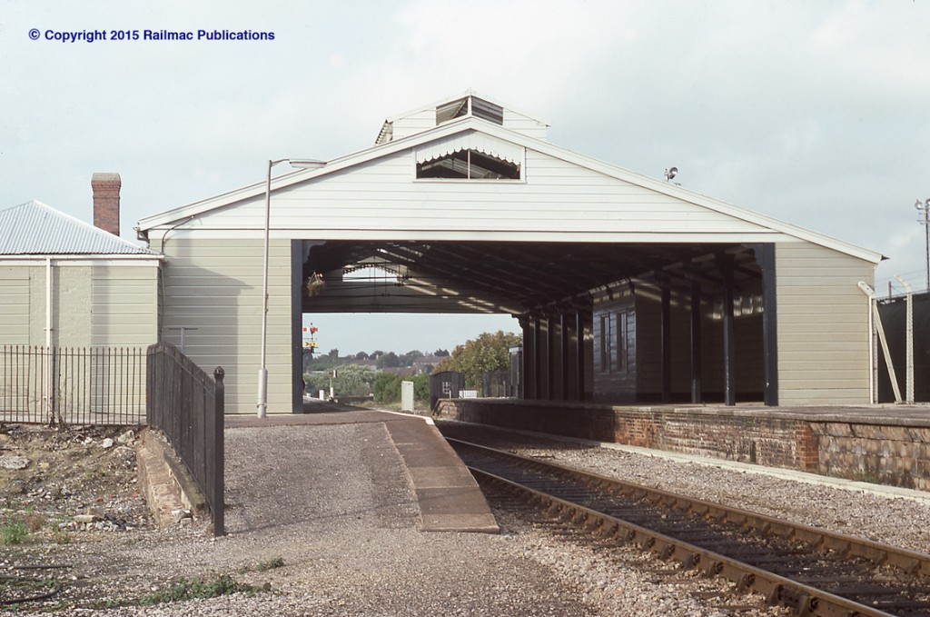 (SM 83-2991) Frome railway station, 2nd October 1983. Designed by Hannaford and built by the Great Western Railway it was opened in 1850.