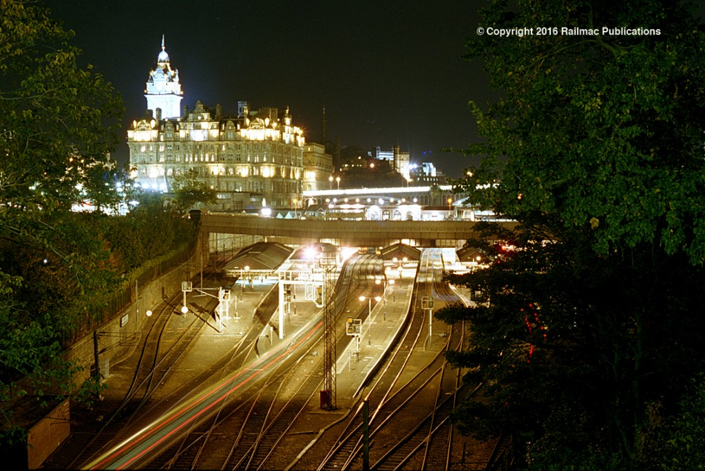 (SM 97-10076) Edinburgh Waverley station at night with the North British Hotel dominant in the background, 9th October 1997.